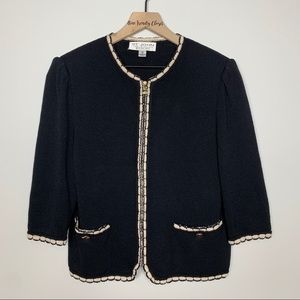 St. John Collection Knit Black Cream Zip Up Blazer